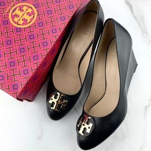 Tory Burch Luna 85MM Leather Wedge Pumps Heels